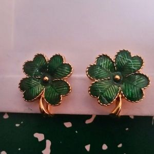 Vintage Avon Four Leaf Clover Clip On Earrings.